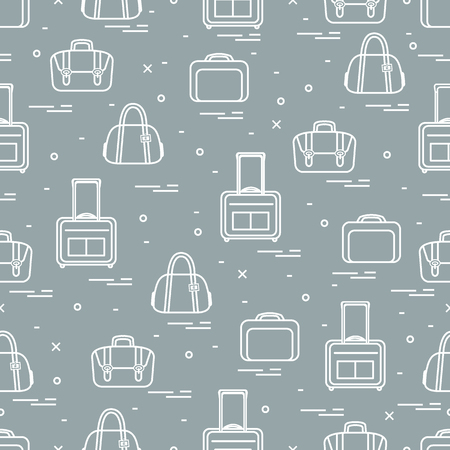 Cute seamless pattern with different bag and suitcases for travel.  Design for banner, poster or print. Vector illustration. Stock Illustratie