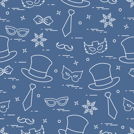 Seamless pattern of different carnival decorations: masks, hats, mustache and other. Carnival festive concept. Vector illustration.