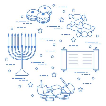 Jewish holiday Hanukkah: dreidel, sivivon, menorah, coins, donuts and other. Design for postcard, banner, poster or print. Illustration