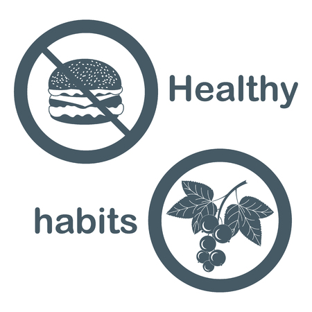 Useful and harmful food icons. Cheeseburger and black currant. Vector illustration. Stock Illustratie