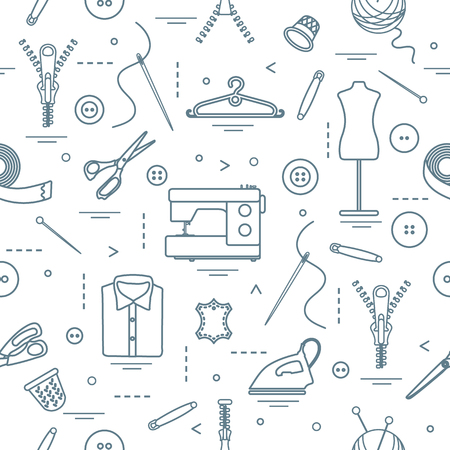 Seamless pattern with tools and accessories for sewing. Template for design, fabric, print. Vector illustration. Banque d'images - 95690082
