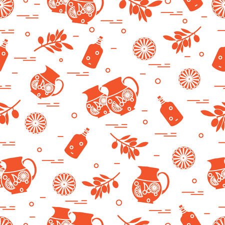 Cute seamless pattern with pitcher of sangria, orange, bottle of olive oil and branch with olives. Travel and leisure  Design for banner, poster or print. Vector illustration.