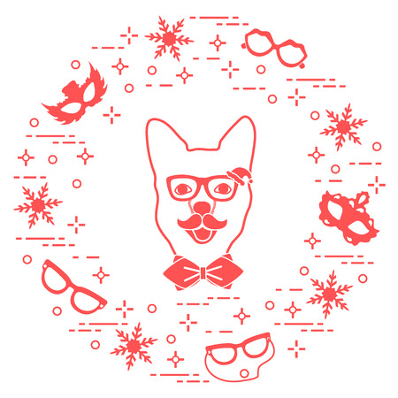 Muzzle of dog in carnival costume, masks, snowflakes, glasses, mustache, bow tie. Carnival festive concept. Costume for a party.