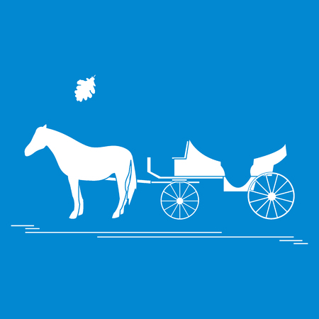 Vector illustration with horse-drawn carriage and oak leaf. Travel and leisure. Design for banner, poster or print. 일러스트