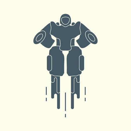 Robot. Toys for children. Robotics, technologies. Design for banner, poster or print. Illustration