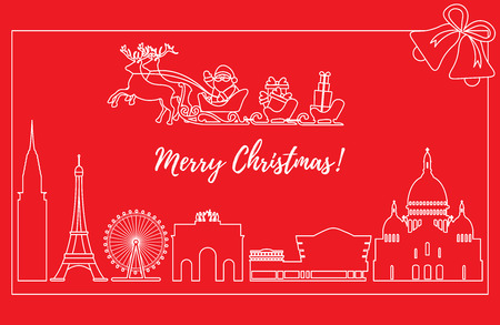 Santa Claus with Christmas presents in sleigh with reindeer over famous buildings and constructions of different countries. New Year and Christmas greeting card.