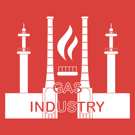 Gas processing plant. Gas burner with flame. Design for announcement, advertisement, banner or print.