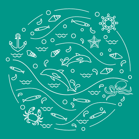 Cute vector illustration with dolphins, octopus, fish, anchor, helm, waves, seashells, starfish, crab arranged in a circle. Design for banner, poster or print. Vettoriali