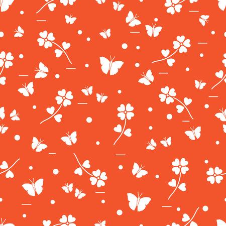 Seamless pattern with shamrock and butterflies. Saint Patricks Day. Irish clover St. Patricks.