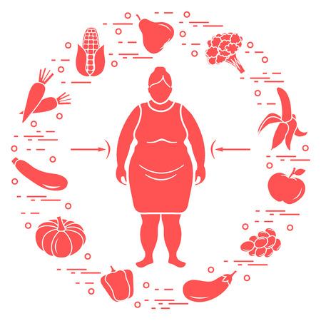 Fette Frau mit gesunden Speisen um ihn herum . Gesunde Essgewohnheiten . Design für Banner und Druck Standard-Bild - 95790236