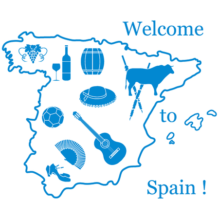 Vector illustration with various symbols of Spain. Travel and leisure. Design for banner, poster or print.