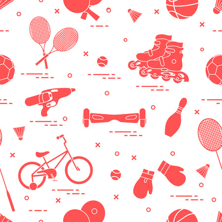 Pattern with bicycle, rollers, gyroscooter, boxing gloves, water pistol, and goods for bowlin. Sports and healthy lifestyle from childhood icons pattern.