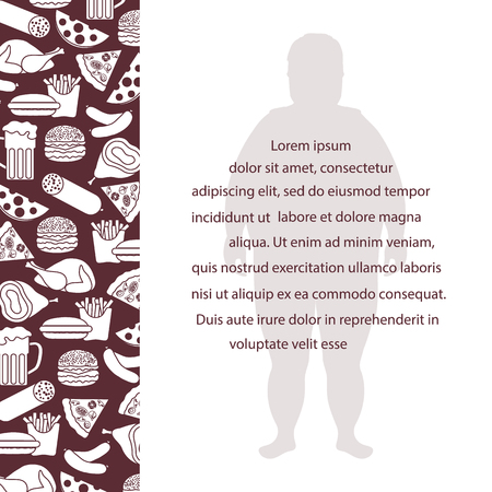 Fat man with unhealthy lifestyle symbols. Harmful eating habits. Design for banner and print.