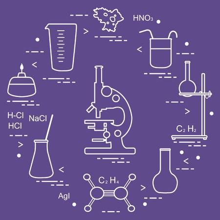 Chimie scientifique, éléments d'enseignement: microscope, flacons, trépied, formules, bécher, brûleur, amibe, tasse à mesurer. Conception pour bannière, affiche ou impression.