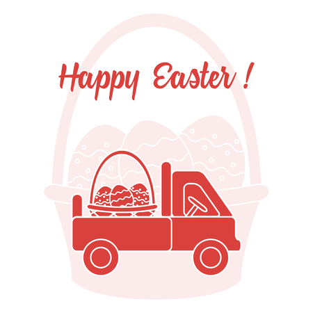 Easter symbols. Truck carrying a basket of decorated eggs on the background of a basket with an egg. Design for banner, poster or print.