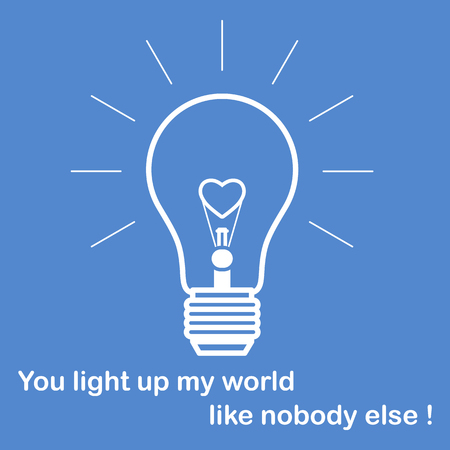 Glowing light bulb with glower in the shape of a heart and the inscription. Design for banner, poster or print. Greeting card Valentine's Day.