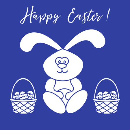 Easter symbols. Easter rabbit and two baskets of decorated eggs. Design for banner, poster or print. Illustration