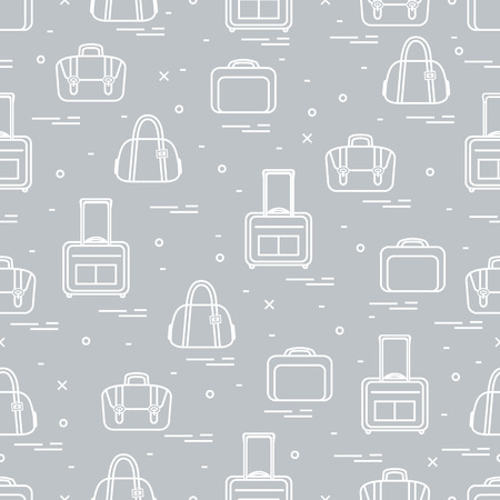Cute seamless pattern with different bag and suitcases for travel during summer time. Stock Illustratie