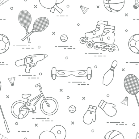 Pattern for ports and healthy lifestyle from childhood vector.
