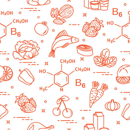 Seamless pattern with foods and fruits that rich in vitamin B6. Illustration