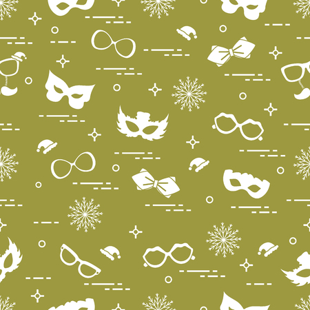 Seamless pattern of different carnival decorations. Carnival festive concept. Costume for a party.