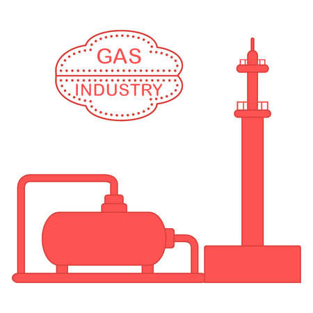 Gas processing plant. Gas storage tank. Design for  banner or print.
