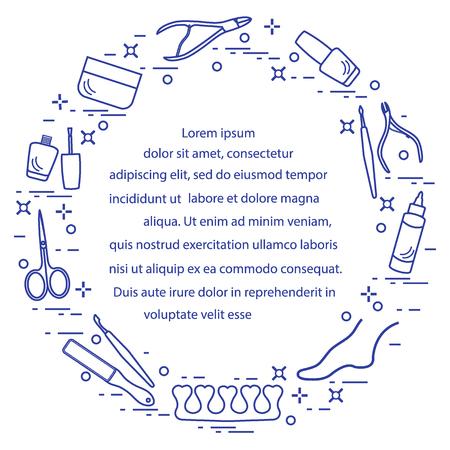 Silhouet van manicure en pedicure tools en producten voor schoonheid en verzorging. Ontwerpelement voor briefkaart, banner, poster of print.