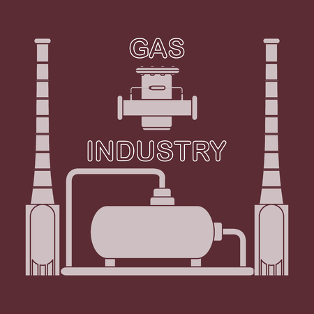 Gas processing plant and gas filter. Design for announcement, advertisement, banner or print.