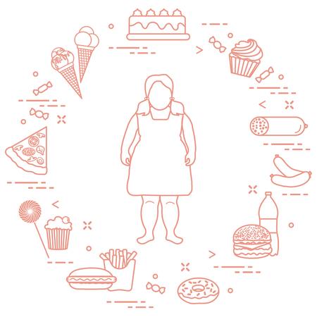 彼女の周りに不健康なライフスタイルのシンボルを持つ太った女の子。有害な食習慣。バナーと印刷用のデザイン。
