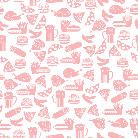 Seamless pattern with different foods. Design for banner and print. Ilustração
