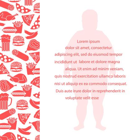 Dicker Mann mit ungesunden Lebensstil Symbole . Schädliche Lebensmittel essen Design für Banner und Druck Standard-Bild - 96114987