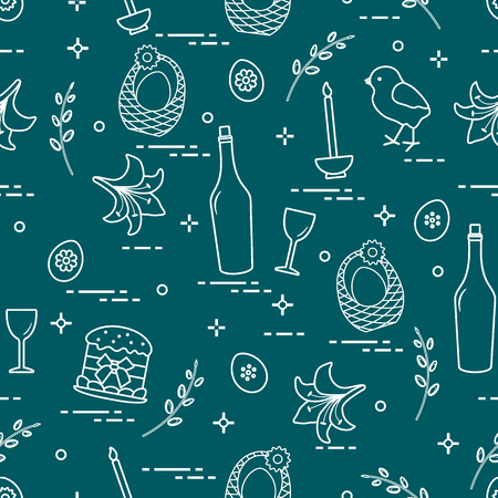Pattern of Easter symbols: Easter cake, chick, lily, baskets, eggs and other. Design for banner, poster or print. Ilustração