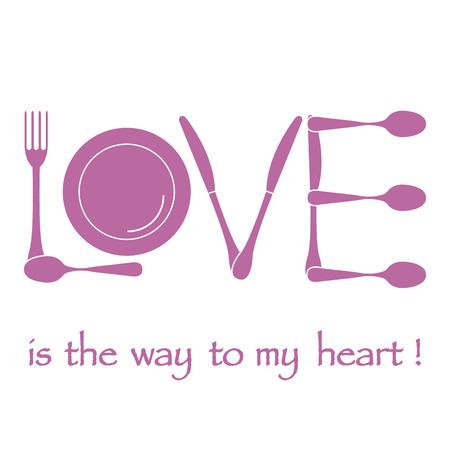 Inscription LOVE from cutlery design Illustration