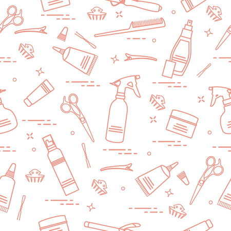 Pattern with professional hairdresser tools Illustration