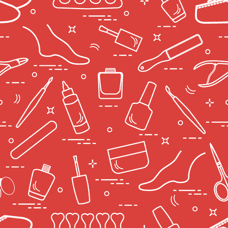 Pattern of manicure and pedicure tools and products for beauty and care. Design for banner, poster or print. Vectores