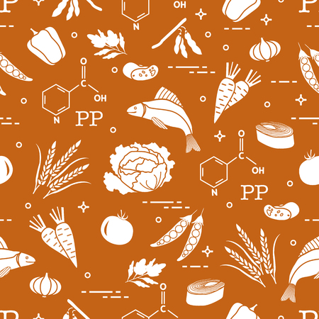 Seamless pattern with foods rich in vitamin PP. Beans, fish, tomato, soya beans, peas, garlic, wheat, carrots, spinach, cabbage and pepper. Illustration