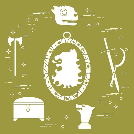 Symbols of the popular fantasy television series. Art and cinema theme. Illustration