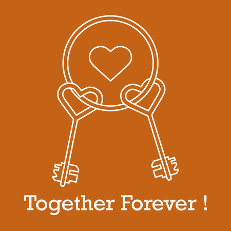 Keys in heart shape and the words together forever. Design for banner, poster or print. Greeting card Valentines Day.