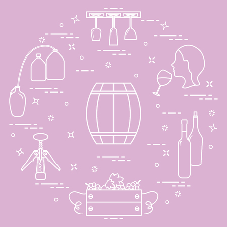 Wine making  production and storage of wine. Illustration
