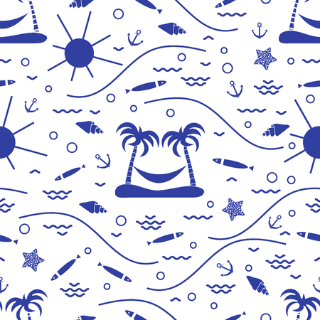 Cute seamless pattern with fish, island with palm trees and a hammock, anchor, sun, waves, seashells, starfish.