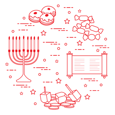 Jewish holiday Hanukkah elements design for postcard, banner, poster or print.