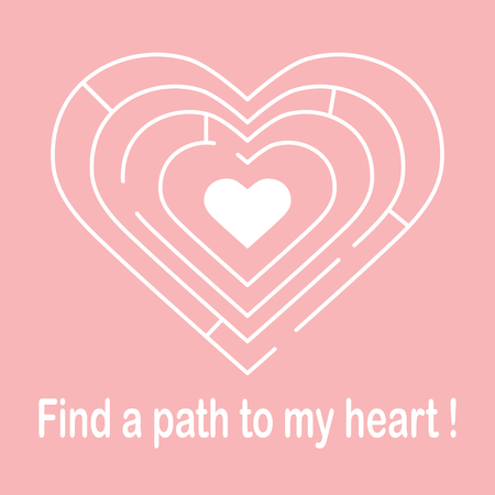 Labyrinth to the heart and the inscription find a path to my heart. Design for banner, poster or print. Greeting card Valentines Day.