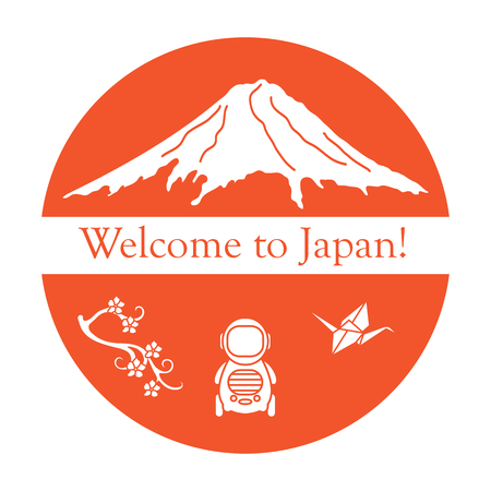 Branch of cherry blossoms, mount Fuji, robot, origami crane. Set of Japan traditional design elements.