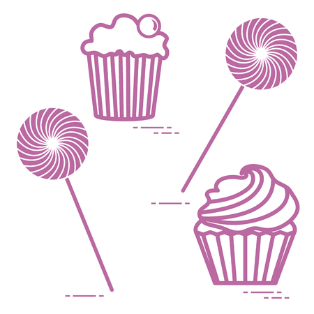 Lollipops and cakes design for banner and print. Stock Illustratie