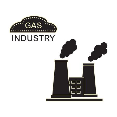 Planta de procesamiento de gas con chimeneas humeantes. Tema industrial. Diseño para anuncio, anuncio, pancarta o impresión.