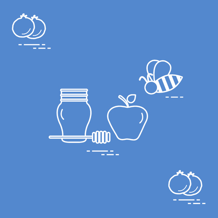 Apple and honey in Rosh Hashanah,  Traditional Jewish food and symbols.