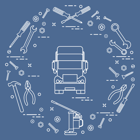 Repair cars: truck, wrenches, screws, key, pliers, jack, hammer, screwdriver. Vector illustration. Illustration