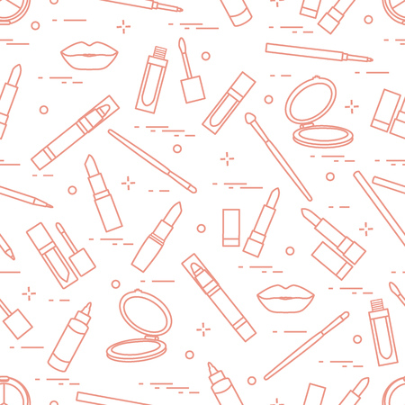 Different lip make-up tools seamless pattern vector illustration of lipsticks, mirror, lip liner, lip gloss and other. Glamour fashion vogue style. Illustration