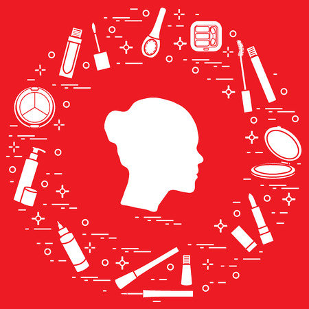 Silhouette of female head and various accessories for the application of decorative cosmetics.  Vector illustration.