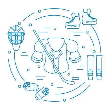 Hockey equipment in monochrome outlined illustration. Illustration